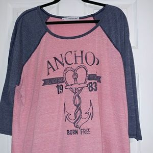 Pink & blue heathered 3/4 sleeve Maurices tee
